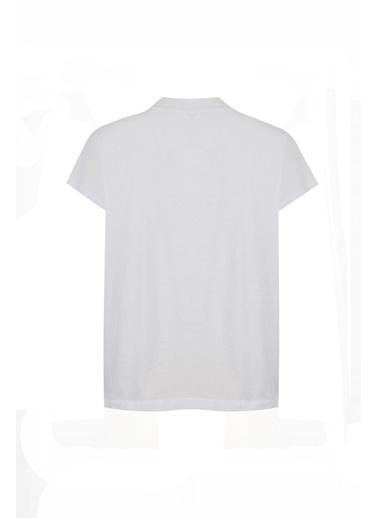 Deux Beautés Nina Balıkçı Yaka T-Shirt  Beyaz